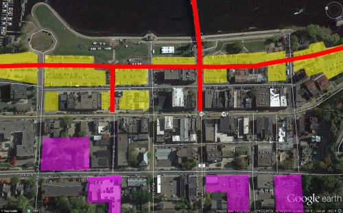 Downtown Stillwater: Existing Surface Parking = Red; Existing and potential structured parking = Purple, Existing and proposed bicycle trails = Red