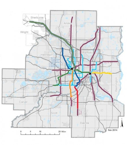 """A possible map of our future transit system, only possible in an """"Increased Revenue Scenario"""" according to the Met Council's 2040 Transportation Policy Plan."""