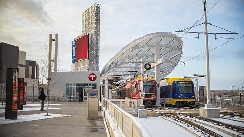 The new Green Line platform at Target Field Station