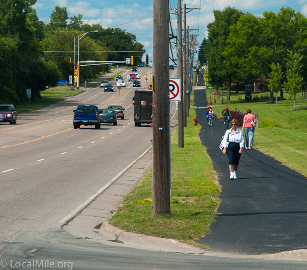 A 3' painted bike lane wasn't good enough so Shoreview residents continued to push for segregated and protected paths. They are in constant use all year.
