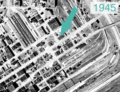 Aerial photo Red's Savoy Inn Pizza site 1945
