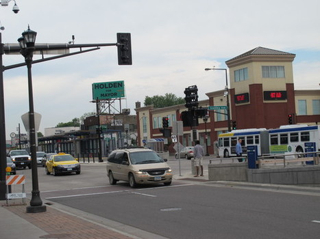 At Snelling and University, your choices include walking, taking the bus, taking the train, or driving.