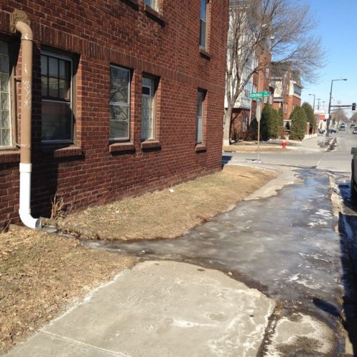 Icy sidewalk Fairview s of Feronia