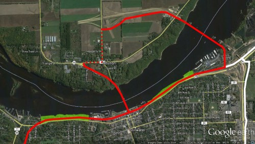 New Stillwater parks (in green), the Browns Creek and Loop Trails (red) and the multi-use path along MN 36 (white).