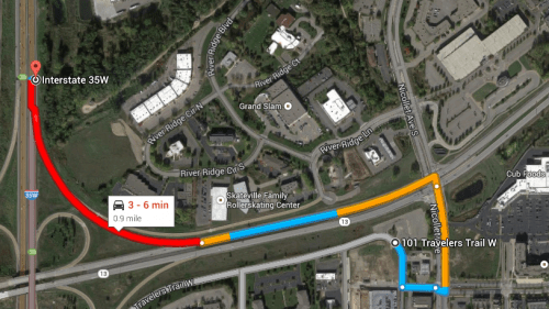 Google Maps routing from BTS to 35W