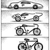 Cartoon car evolving to bicycling