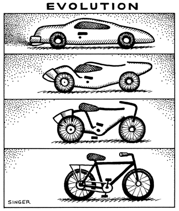 Cartoon car evolving to bicycling