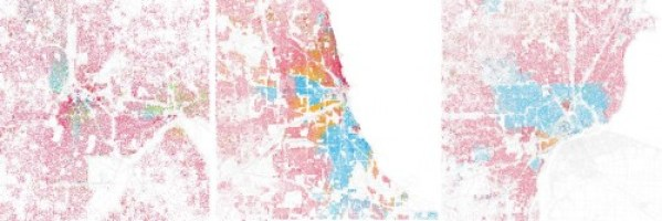 Race dot maps for 3 midwestern cities