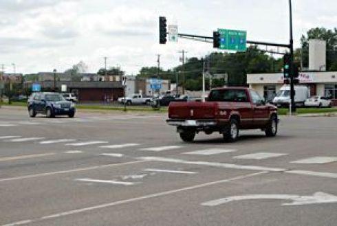 Image of highway intersection with bike sensor