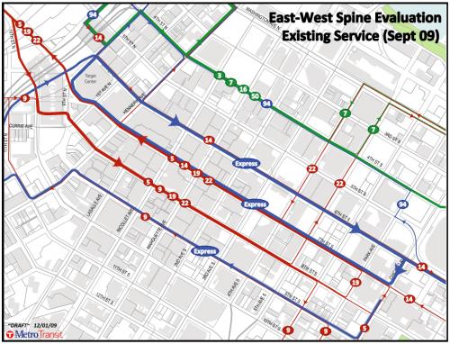 East West bus routes through the Minneapolis CBD