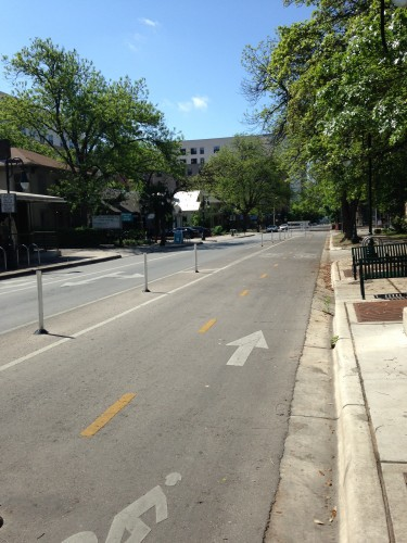 Bollard-protected two-way cycletrack on Rio Grande. Yay!