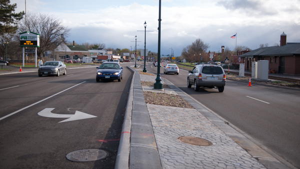 MN State Hiway 61 through White Bear Lake was rebuilt in 2014-2015. This is a key corridor that connects a lot of close-by high density housing with local retail yet no safe place to ride bicycles was provided.
