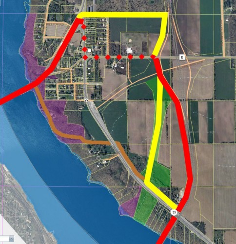 Loop Trail in red, a better loop trail in yellow, possible pedestrian trail in brown.