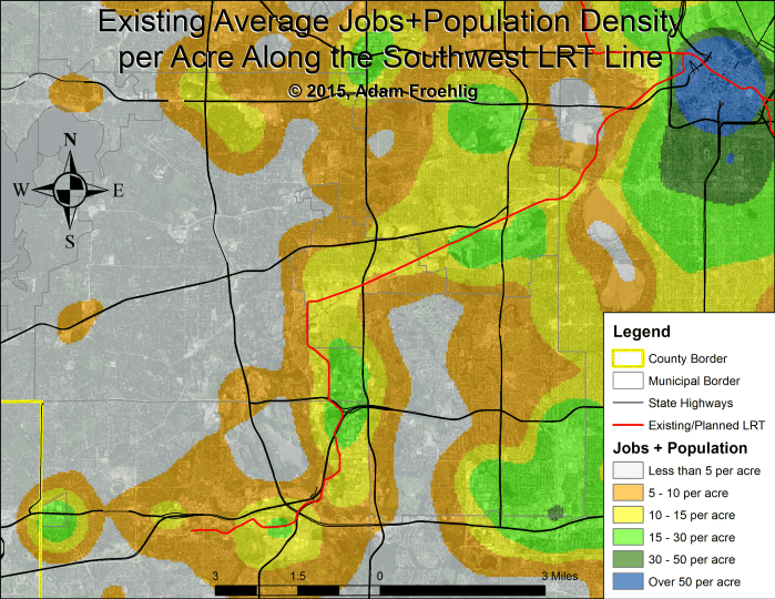 "Average jobs+population density per acre along the Southwest LRT corridor.  Map by the author, with background data from the US Census Bureau."" width=""500"" height=""386"" class=""size-medium wp-image-52959"" /> Average jobs+population density per acre along the Southwest LRT corridor.  Map by the author, with background data from the US Census Bureau."