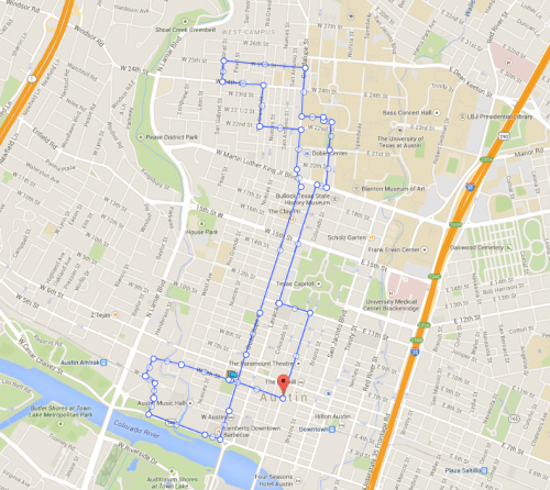 My stroll route - taken from Map My Distance dot com