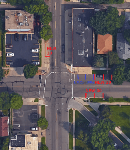 Five proposed 30 minute spaces within 100' of the building at Cleveland and Randolph. Please see letter for suggestions about the two underutilized lots.