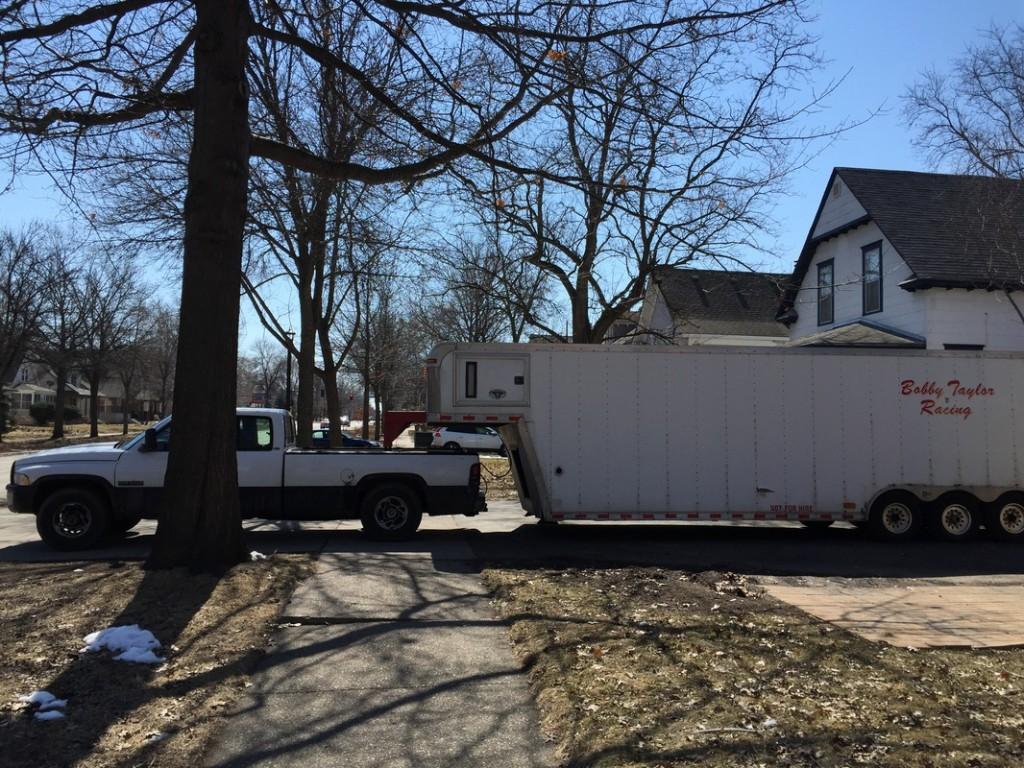 Sidewalk blocked by a truck