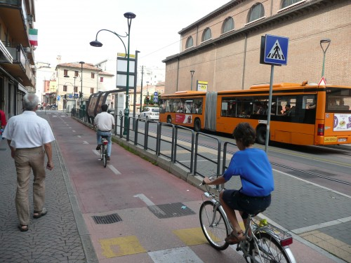 Floating bus stop in Mestre, Venice, Italy