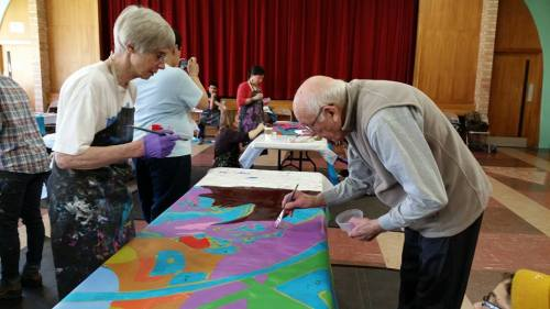 Intergeneration painting party with the Nokomis Healthy Seniors and Roosevelt High School Student volunteers