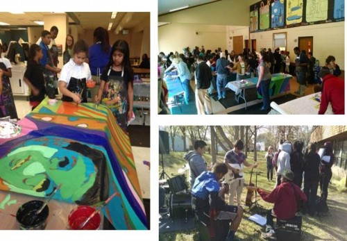 Painting party events at Folwell and Corcoran Park, including entertainment by the Folwell Middle School Rock Band