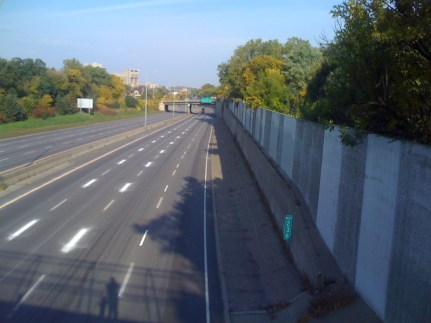 I-94 - October 11, 2008, during restriping. After I-35W Bridge reopening.