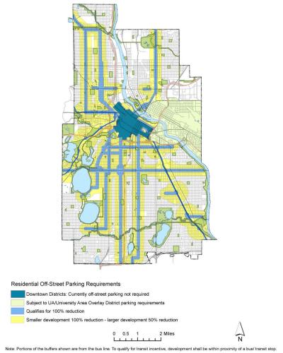 Map of parking minimum reductions in Minneapolis