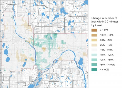 Map of Green Line job accessibility