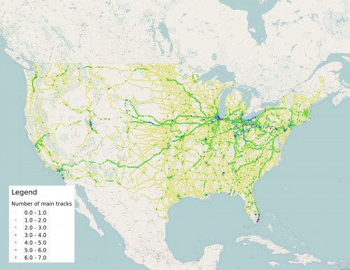 A map of grade crossings across the United States showing the number of main tracks.