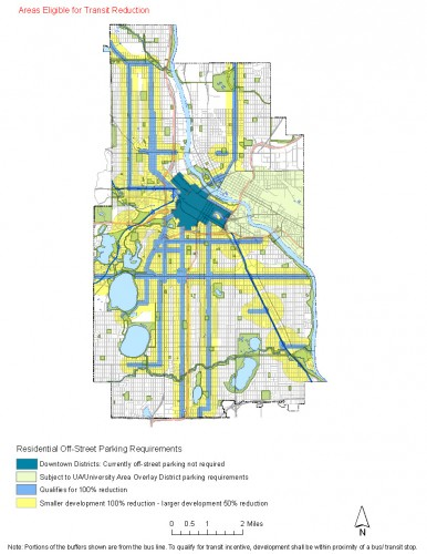 Map of areas affected by the proposed parking changes (courtesy of the City of Minneapolis).