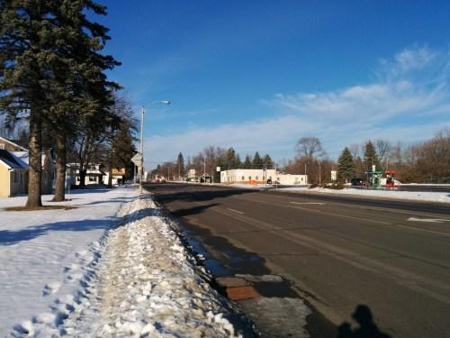 6th Street Brainerd in November 2014. Death road with snow on sidewalk