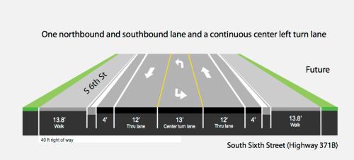 6th Street 3-lane section