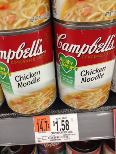 Canned soup at Walmart