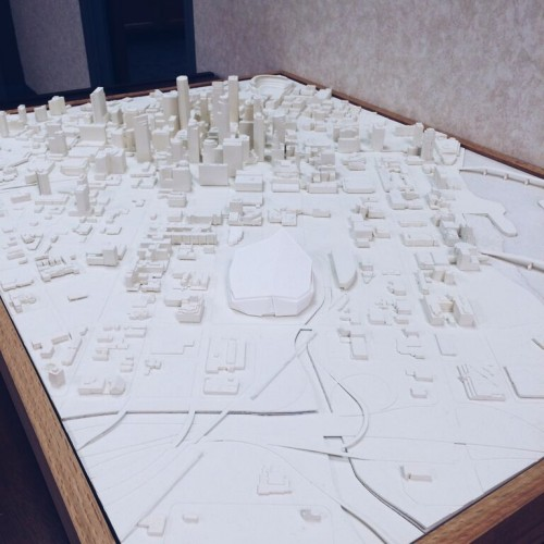 Model of downtown Minneapolis and the new Vikings stadium.