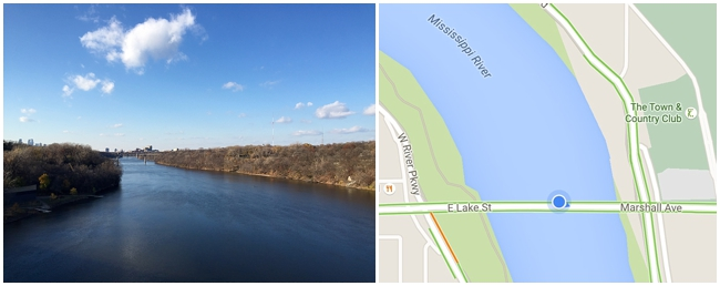 Lake Street and Marshall Avenue boundary on the Mississippi River