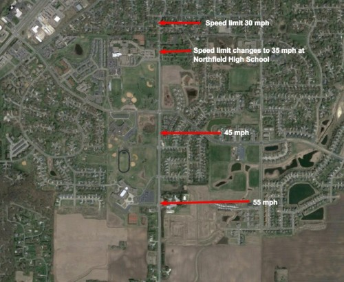 Satellite image showing Speed limits on TH 246 near Northfield schools