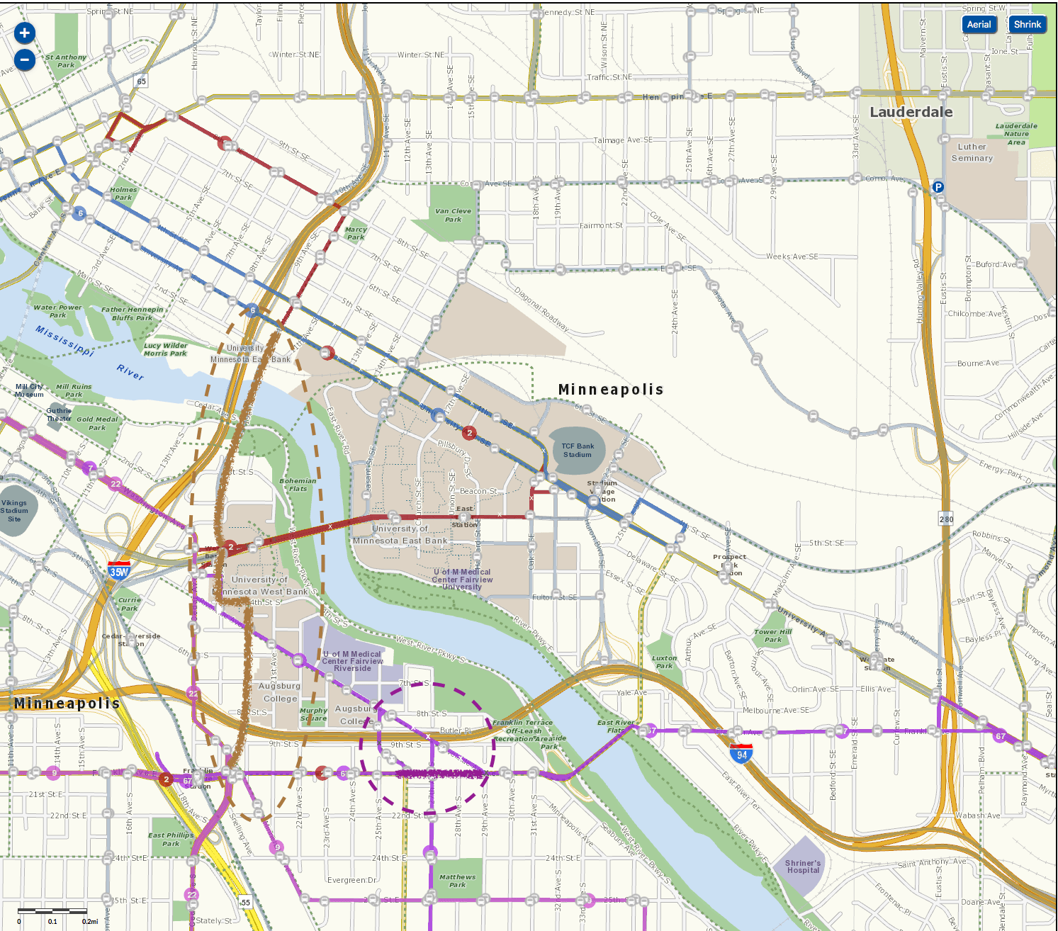 Transit routes with proposed reconfiguration shown for Routes 2 (brown) and 67 (purple).
