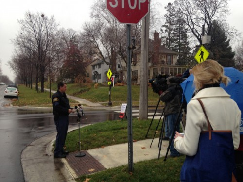 Photo of police press conference at Jefferson and Cleveland