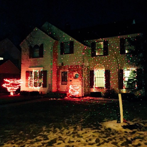 Home with lights projected onto it