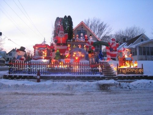 Home with inflatable holiday display