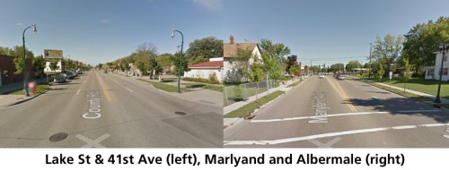 Image of Lake St & 41st, left, and Maryland and Albermarle, right