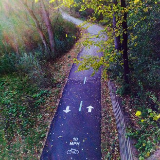 View of trail from Bryant Avenue Bridge