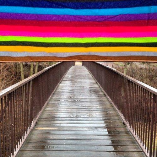 View of umbrella on the Bryant Avenue Bridge
