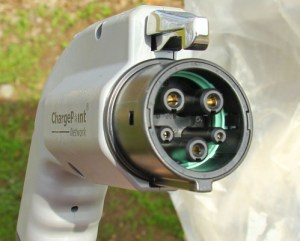 The SAE J1772 plug of a Level 2 electric car charging station