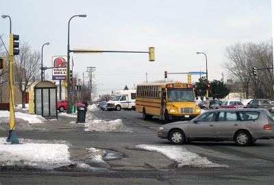 Five lanes of speeding traffic coming off Minnehaha and Hiawatha Avenues, courtesy Bill Lindeke