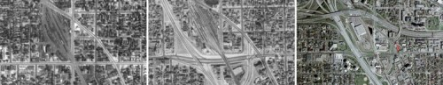 History of the intersection, original photo comparison by Bill Lindeke