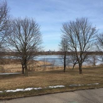 View of downtown Minneapolis across Lake Hiawatha in Minneapolis