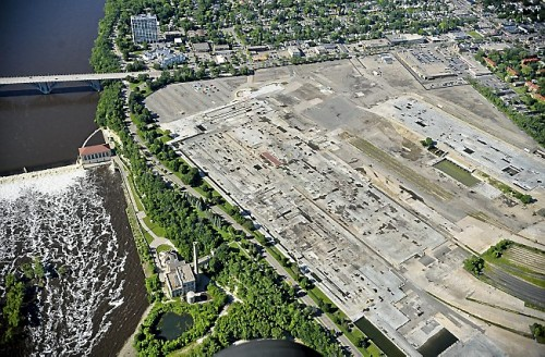 The empty land where the Ford Plant once stood in St. Paul as seen in this aerial photo taken on Friday, June 20, 2014. (Pioneer Press: Ben Garvin)