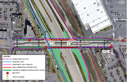 "The ""Half-Diamond with Promenade"" proposes reclaiming significant space by closing southbound lanes. Image from ""Hi-Lake Interchange Study"" February 2016."