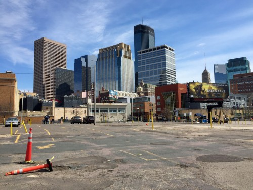 View of downtown Minneapolis from a parking lot