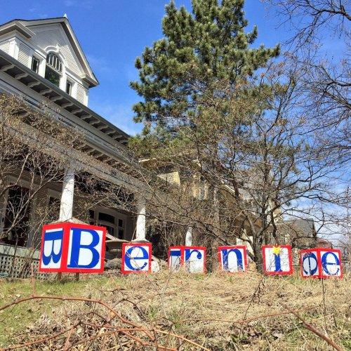 Bernie spelled out in blocks on a lawn